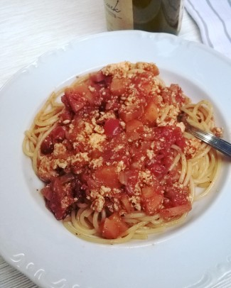 spaghetti bolognese z tofu
