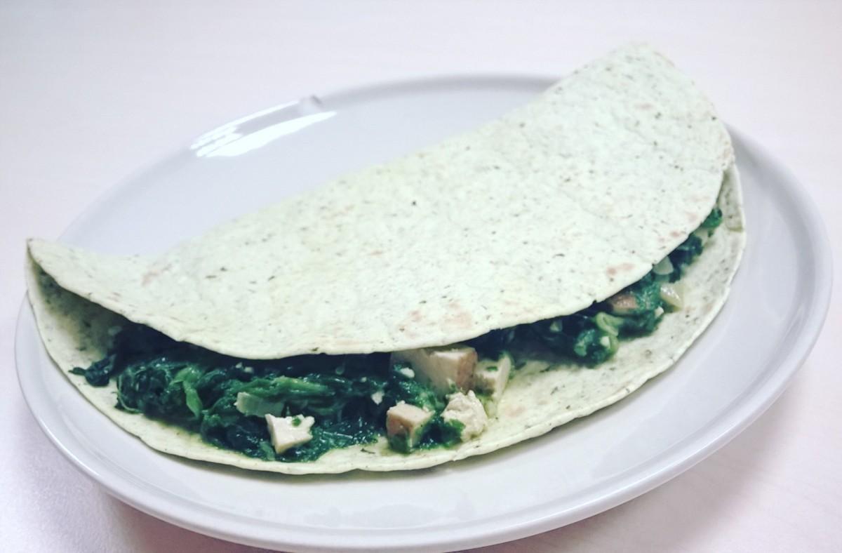 Tortilla z tofu iszpinakiem